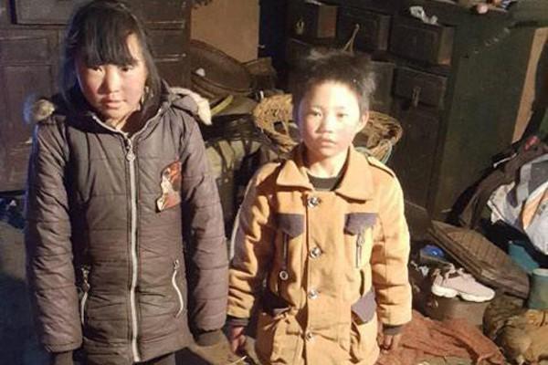 Hai chị em nhà bé Wang.