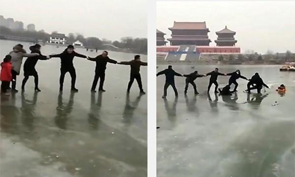 Còn ở Trung Quốc, Ngày 7/1, gia đình 3 người gồm mẹ và một con trai, một con gái (đều còn nhỏ) gặp sự cố ở công viên Caoxueqin (tỉnh Hà Bắc, Trung Quốc). Hồ nước đóng băng nhưng có những điểm dễ bị nứt vỡ khiến cả ba người bị lọt xuống. Cuối cùng, họ được cứu giúp bởi một nhóm người đi ngang qua.