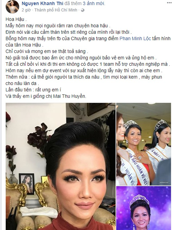 Khánh Thi lên tiếng bênh vực Hoa hậu Hoàn vũ Việt Nam Hhen Niê.