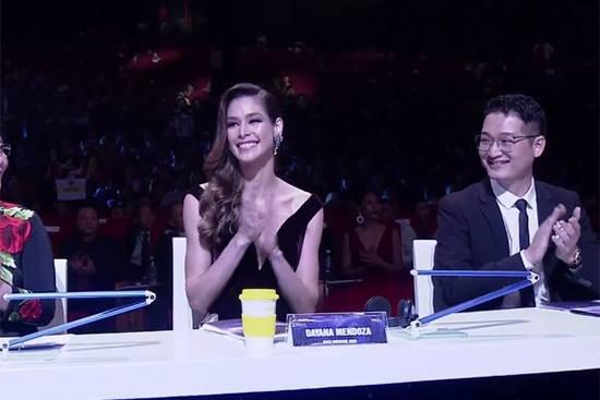 Hoa hậu Dayana Mendoza trên hàng ghế giám khảo của đêm chung kết. Ảnh: Vietnamnet