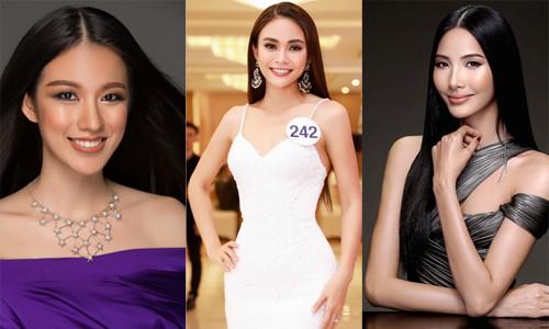 Tuyết Trang, Mâu Thủy, Hoàng Thùy (từ trái qua) - ba ứng viên hàng đầu cho ngôi vị Hoa hậu Hoàn vũ Việt Nam 2017.