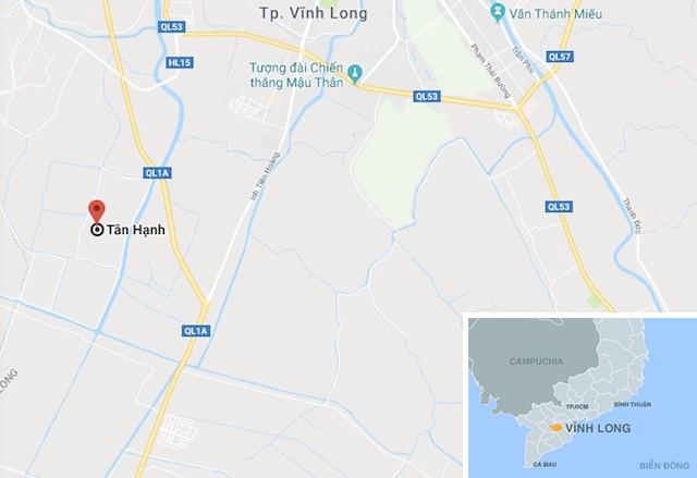 Xã Tân Hạnh (huyện Long Hồ, tỉnh Vĩnh Long), nơi xảy ra sự việc. Ảnh: Google Map.