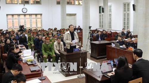 Phiên tòa xét xử Trịnh Xuân Thanh và đồng phạm sáng 14/1. Ảnh: TTXVN