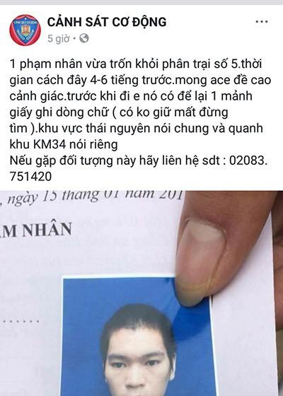 Một phạm nhân vừa trốn trại, để lại lời nhắn 'có không giữ mất đừng tìm'