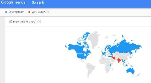 Lượng tìm kiếm từ khóa U23 Việt Nam trên Google Trends.