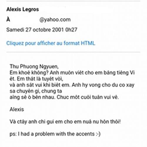 Bức email Alexis gửi Thu Phương.