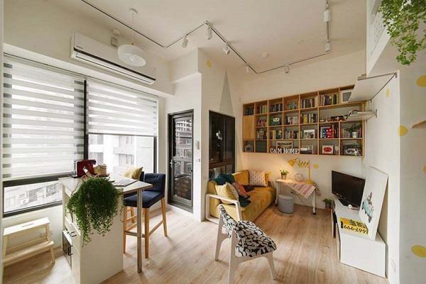 Phòng lớn nhất 18m2 được sử dụng làm phòng khách, không gian sinh hoạt chung kết hợp với bếp.