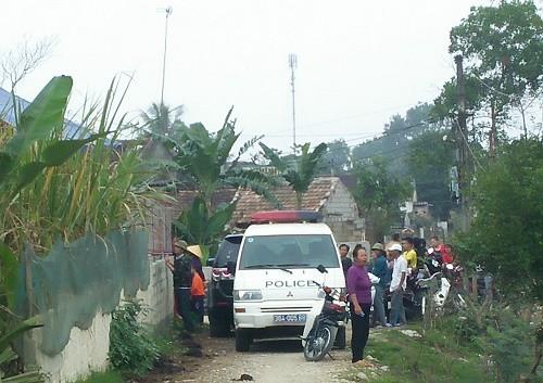 Hiện trường vụ án tại xã Tân Khang, huyện Nông Cống (Thanh Hóa)