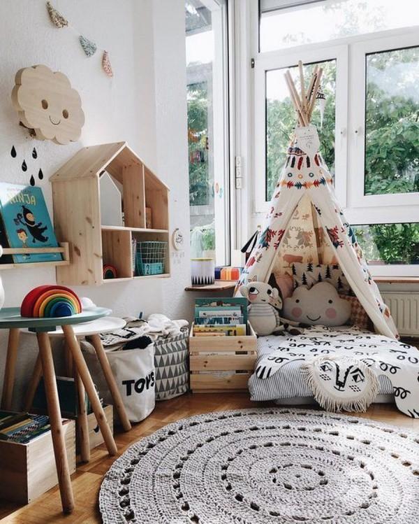 Chọn yếu tố cơ bản nhất của Bohemian và cố gắng tạo ra bầu không khí ấm cúng giúp trẻ yêu thích cuộc sống thư giãn và cảm thấy rung cảm trước những mảng màu.