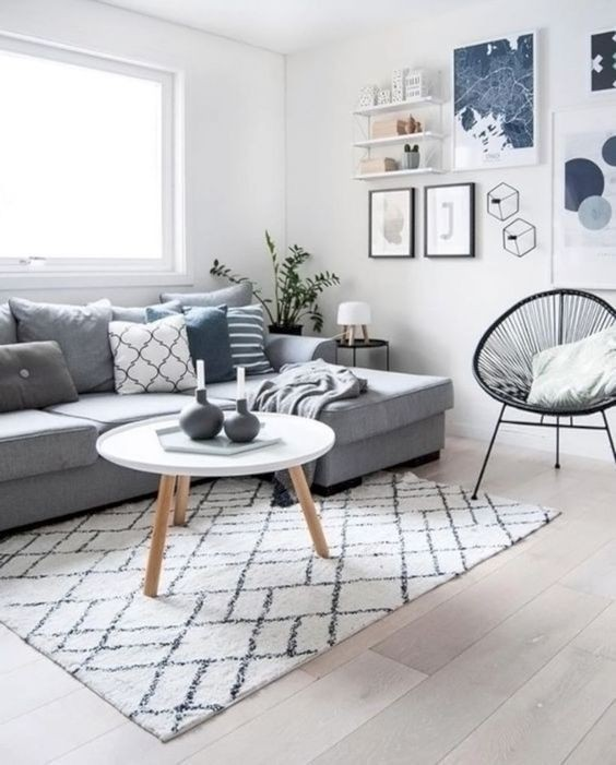 Không gian phòng khách với gam màu nhẹ nhàng.