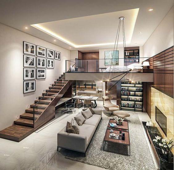 Cầu thang dài phù hợp với kiến trúc ngôi nhà.