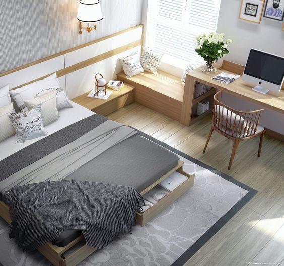 Không gian phòng ngủ con trai với gam màu xám hiện đại.