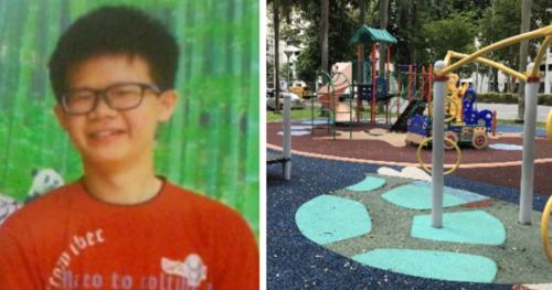 Zhang được tìm thấy ở sân chơi một toà chung cư. Ảnh: Sinchew News.