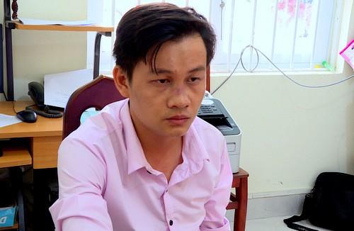 Nguyễn Văn Hiếu tại cơ quan công an. Ảnh: Quang Bình.