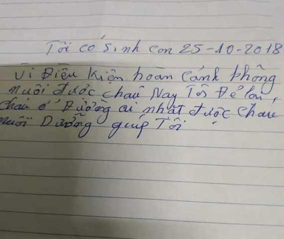 Tờ giấy mẹ cháu bé để lại nhờ nuôi giúp.