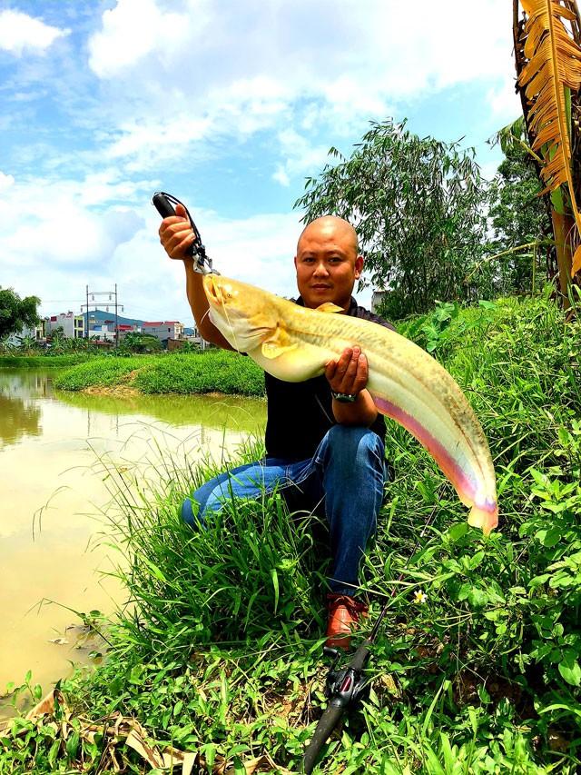 Anh Dương Việt Anh khoe chiến lợi phẩm là con cá nheo có trọng lượng khủng câu được ngay tại hồ nuôi của mình. Ảnh: NVCC