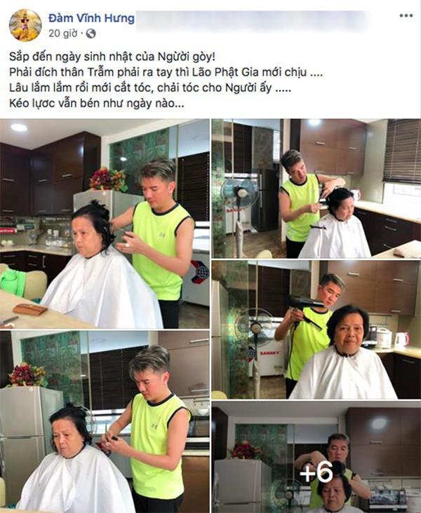 Đàm Vĩnh Hưng chia sẻ hình ảnh tự tay cắt tóc cho mẹ.
