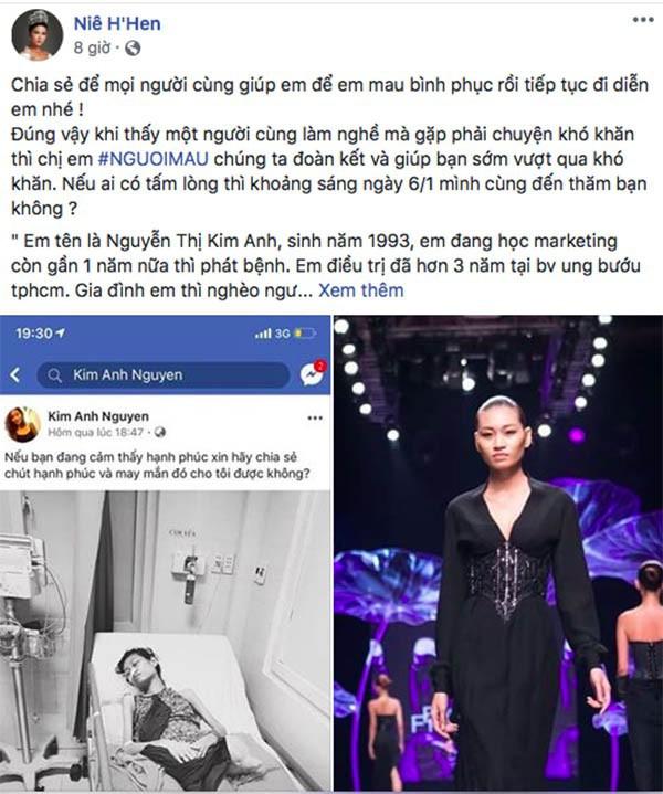 Dòng trạng thái chia sẻ của Hoa hậu HHen Nie