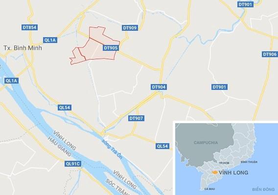 Xã Long Phú (khoanh đỏ), nơi xảy ra vụ trộm. Ảnh: Google Maps.   Theo Minh Anh  Zing