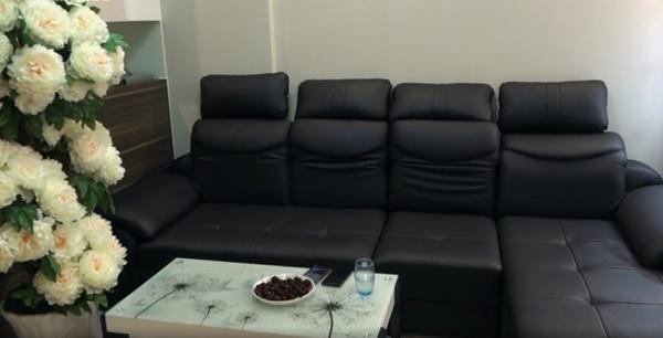 Một bộ sofa chỉ dùng nguyên một màu đen kết hợp với nền trắng tạo điểm nhấn mới mẻ cho căn hộ. Hơn nữa, vốn căn hộ này cũng không quá rộng, vì vậy hai màu sắc cơ bản này làm nó không có cảm giác bí bách, chật chội.