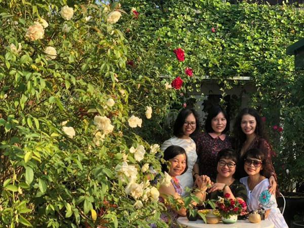 Bạn bè, người thân đến chơi ai cũng phải trầm trồ, tấm tắc trước vẻ đẹp rực rỡ của rất nhiều loại hoa hồng của bà mẹ trẻ đảm đang này.