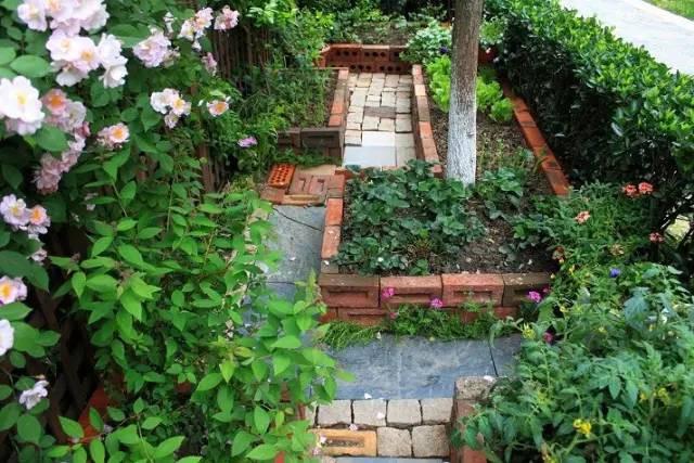 Khuôn viên phía ngoài khu vườn cũng được thiết kế ấn tượng với những vật liệu đơn giản, dễ tìm kiếm.