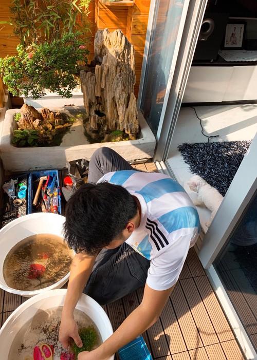 Ông xã Lê Phương tự làm bể cá xinh xắn đặt trong nhà cho hai con - Ảnh 2.