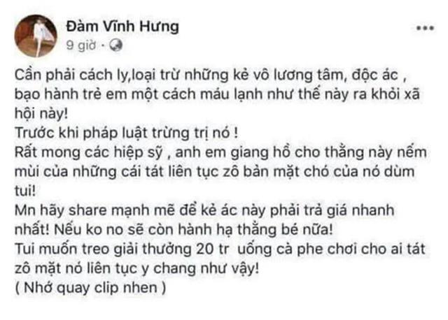"""Sở Thông tin truyền thông ý kiến việc facebook Đàm Vĩnh Hưng """"kêu gọi đánh người""""  - Ảnh 1."""