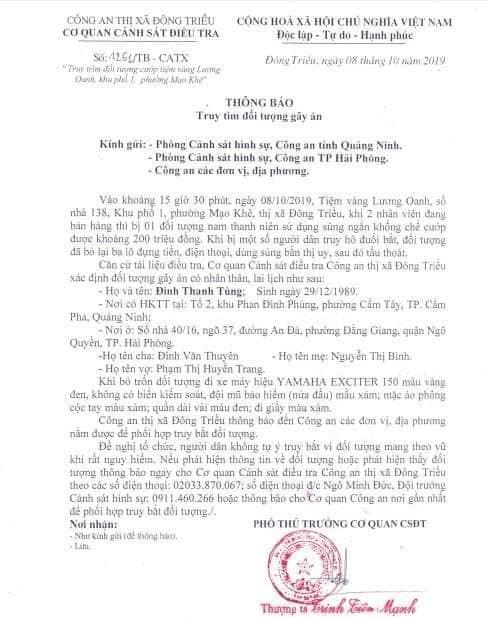Lộ diện đối tượng nổ súng cướp tiệm vàng ở Quảng Ninh - Ảnh 3.
