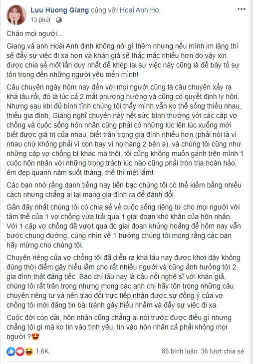 Hàng loạt sao Việt gửi lời chúc mừng đến vợ chồng Hồ Hoài Anh - Lưu Hương Giang sau lùm xùm ly hôn chấn động - Ảnh 2.