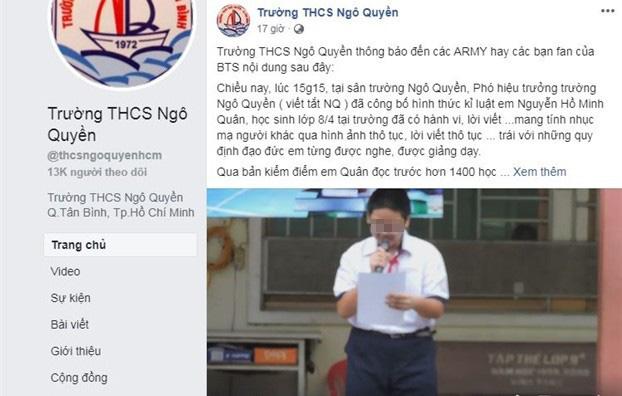 Vụ kỷ luật học sinh xúc phạm nhóm BTS: Trường Ngô Quyền bị kiểm điểm - Ảnh 2.
