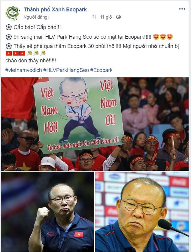 Cư dân Ecopark nồng nhiệt chào đón thầy trò HLV Park Hang Seo và thủ môn Đặng Văn Lâm - Ảnh 2.