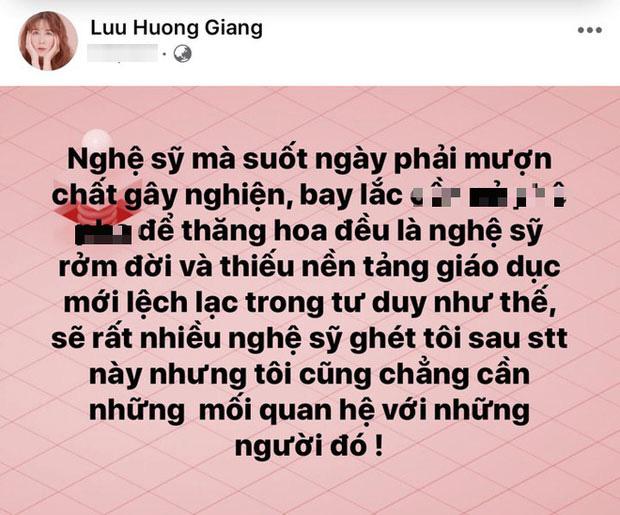 Lưu Hương Giang bất ngờ lên tiếng chỉ trích một số nghệ sĩ dùng chất kích thích để thăng hoa trong nghệ thuật là những kẻ rởm đời và thiếu giáo dục - Ảnh 1.