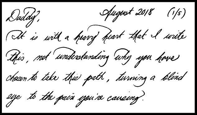 Meghan đã gửi thư cho cha đẻ hồi tháng 8 năm ngoái với nội dung đầy 5 trang giấy.