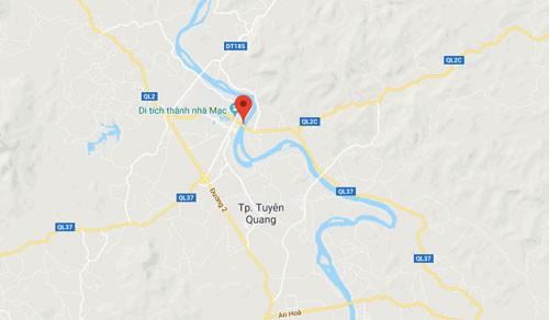 Địa điểm vụ cháy nằm dưới chân cầu Nông Tiến bắc qua Sông Lô thuộc Tp Tuyên Quang.