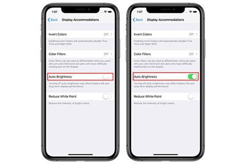 Giao diện bật/tắt tính năng Auto Brightness trên iOS mới. ẢNH CHỤP MÀN HÌNH