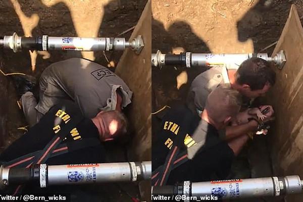 Cận cảnh giải cứu bé gái sơ sinh bị mắc kẹt trong đường ống.