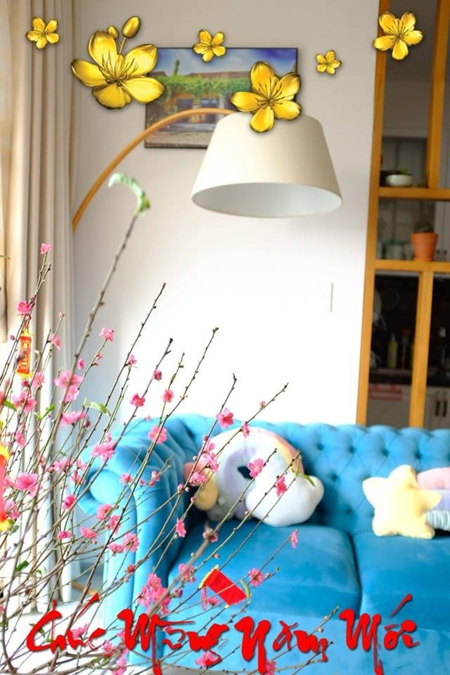 Ghế sofa có màu xanh nổi bật