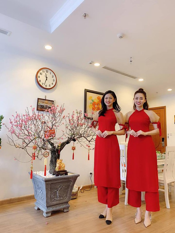 Hình ảnh Ngô Trà My và em gái Á hậu Thanh Tú trong dịp Tết vừa qua.
