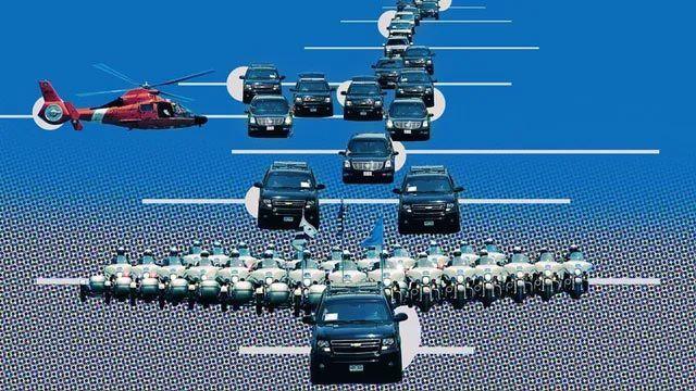Mô hình một đoàn xe tháp tùng tổng thống Mỹ công du nước ngoài. Ảnh: The Drive