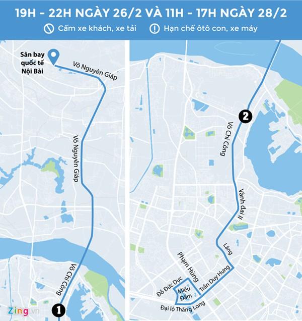Cấm nhiều tuyến đường xe Tổng thống Mỹ chạy qua. Đồ họa: Zing.vn