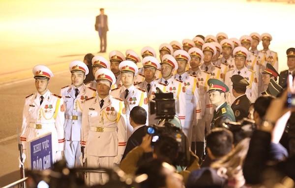 Đoàn Nghi lễ Quân đội chuẩn bị đón Tổng thống Mỹ Donald Trump. Ảnh Vnexpress
