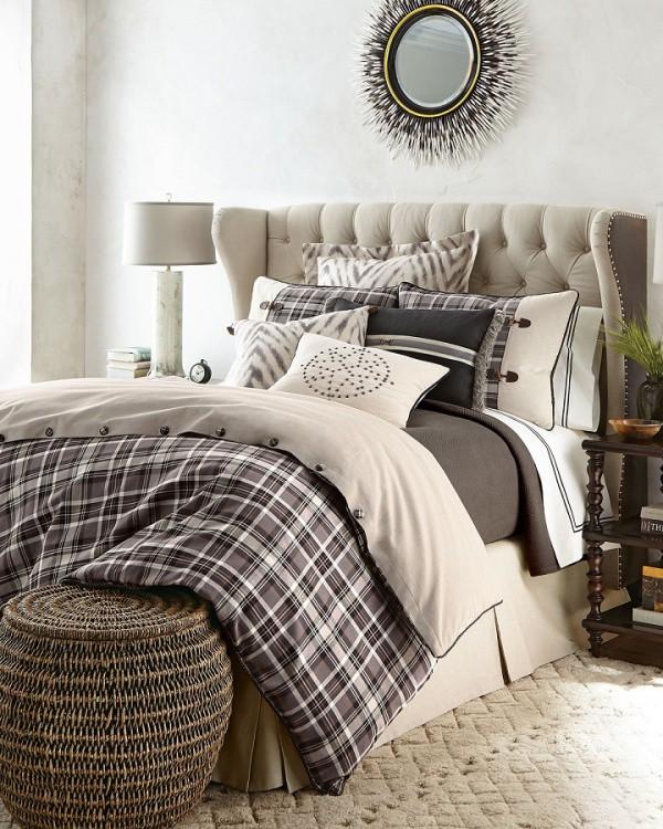 Nếu sử dụng những bức tường với màu trắng để tăng sáng và nới rộng không gian, hãy nghĩ đến việc chọn lựa màu xám cho kẻ ca rô cho giường ngủ, căn phòng ngay lập tức trở nên cá tính đầy ấn tượng.