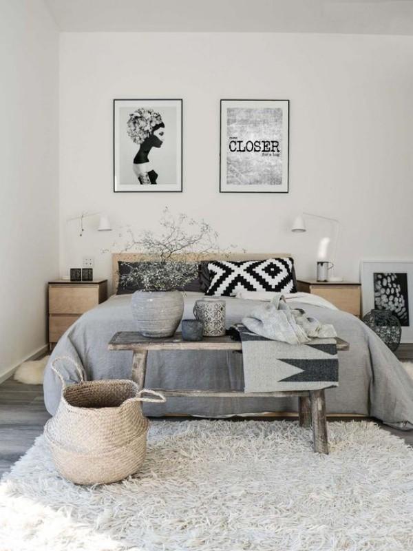 Màu xám cho chăn trải giường, cho toàn bộ tường nhưng vẫn toát lên vẻ đẹp thân thiện và bình yên với sự kết hợp hài hòa cùng chất liệu và màu sắc của gỗ.