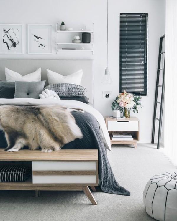 Nếu bạn yêu không gian mang chút hoài cổ, hãy chọn lựa màu xám làm màu cân bằng cho căn phòng. Màu trắng làm màu nền, màu xanh xám làm màu nhấn, giữ một phần màu xám nhạt làm màu cân bằng cho căn phòng thêm hài hòa.