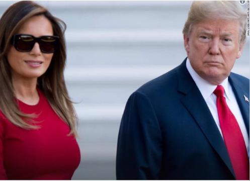 Bức ảnh chụp 2 vợ chồng Tổng thống Trump trong chuyến công du tới Brussels. (Ảnh: Twitter)
