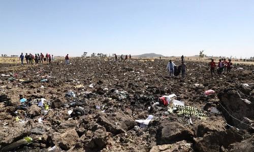 Hiện trường vụ rơi máy bay Ethiopian Airlines hôm 10/3.