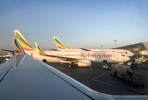 Máy bay Boeing 737 của Ethiopian Airlines tại Sân bay Quốc tế Bole. Ảnh: AP