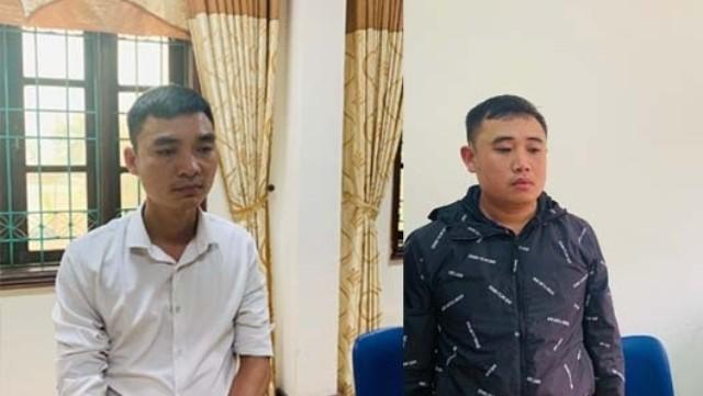 2 đối tượng Nguyễn Văn Đức (trái) và Dương Văn Trung. Ảnh: Công an Thanh Hóa