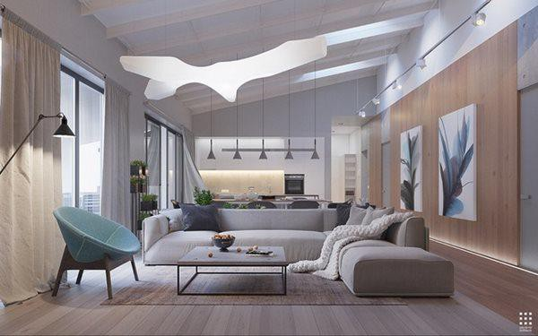 Phòng khách là sự kết hợp giữa những đường cong mềm mại và những chi tiết góc cạnh.